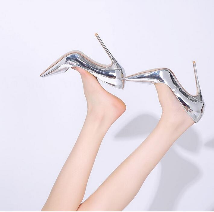Sexy Pointed Toe Sliver Champagne Color High Heel Women Pumps Slip-on Wedding Dress Shoes Stiletto High Heel Shoes Free Ship apoepo women high heel pointed toe slip on sexy pumps nude high heel wedding bride shoes concise style stilettos m063