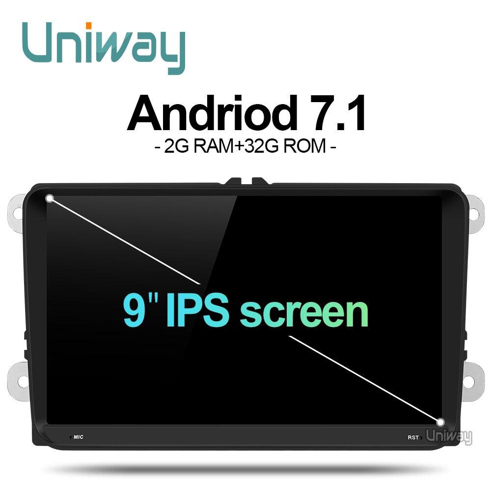 uniway ADZ9071 android 7.1 car dvd for vw passat b7 b6 golf 5 polo tiguan octavia rapid fabia with gps navigation radio player