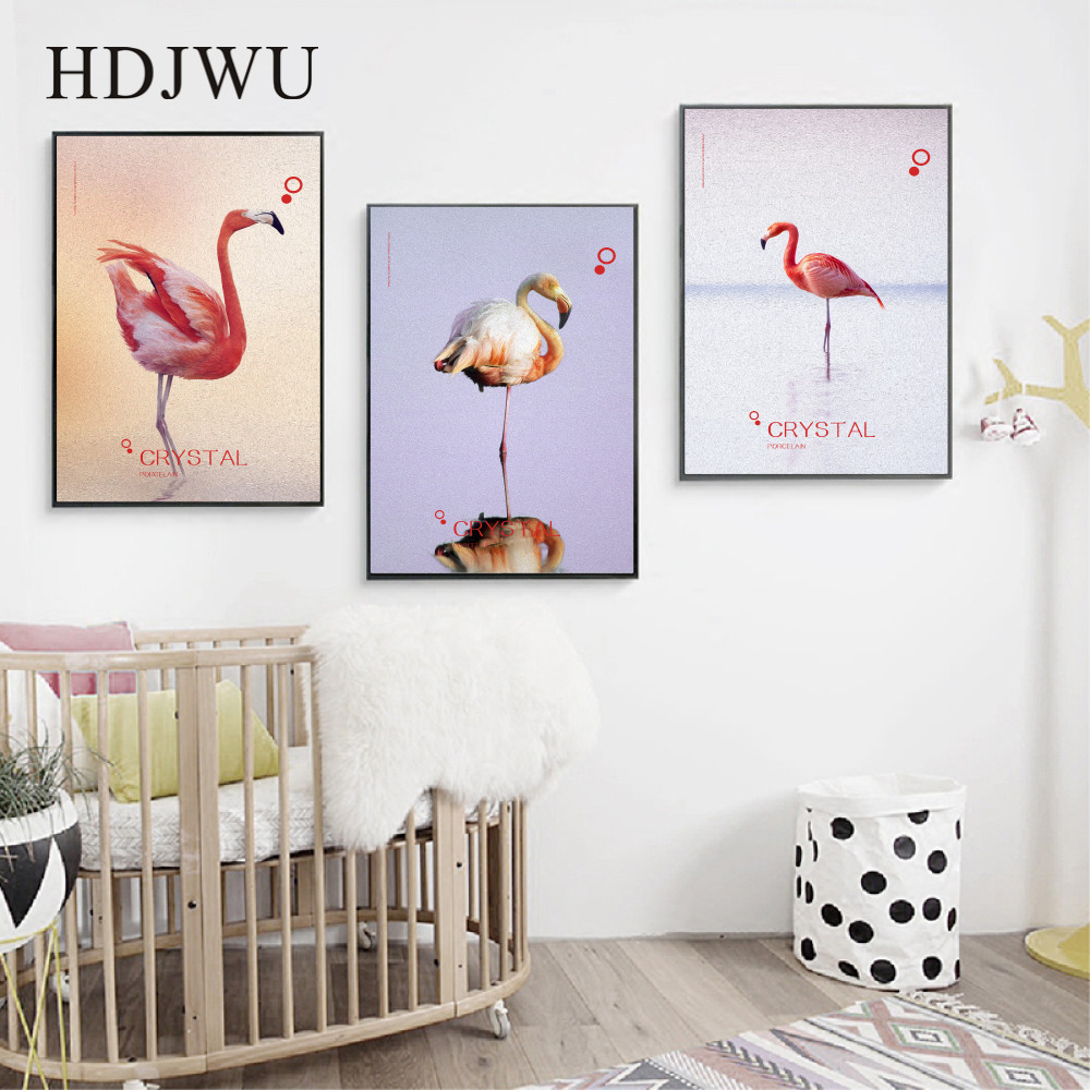Nordic Art Home Canvas Painting Wall Picture Beige New Year Flamingo Printing Posters for Living Room Decor DJ67 in Painting Calligraphy from Home Garden
