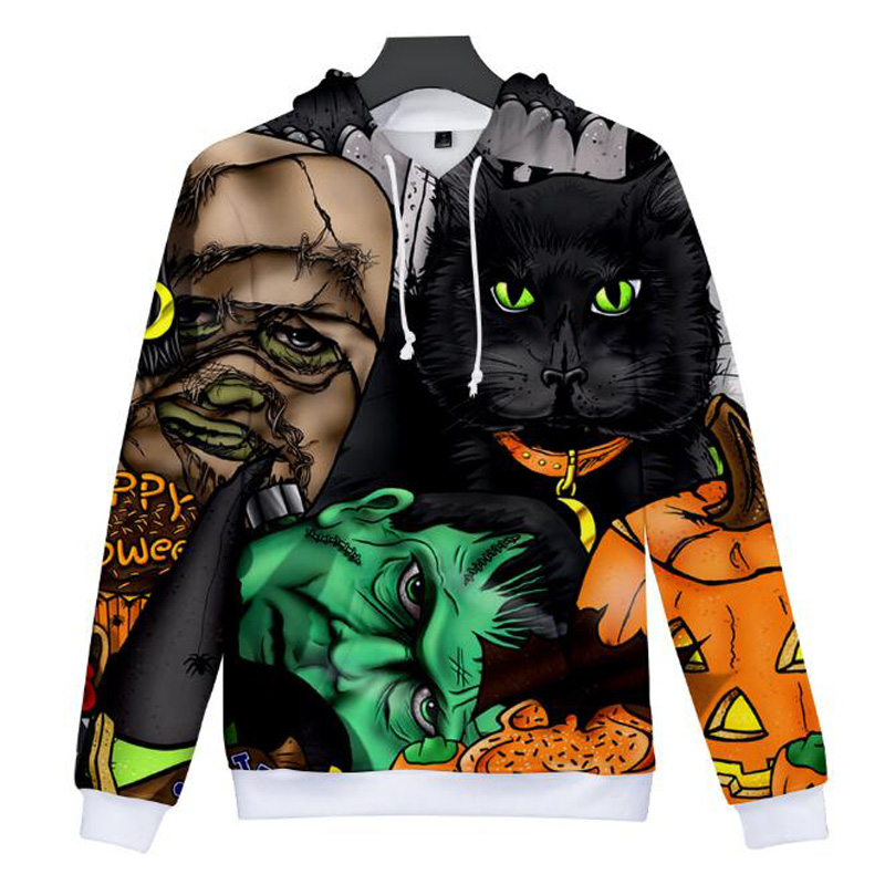 Halloween Costumes For Men Women 3D Printed Hooded Sweatshirt Plus Size Causal Loose Oversized Hoodie Autumn Coat Warm Hoody