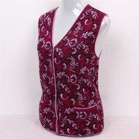 100% козья кашемир элегантный жаккардовые толстой вязки Женская мода жилетка без рукавов красный свитер 2 вида цветов S/5xl