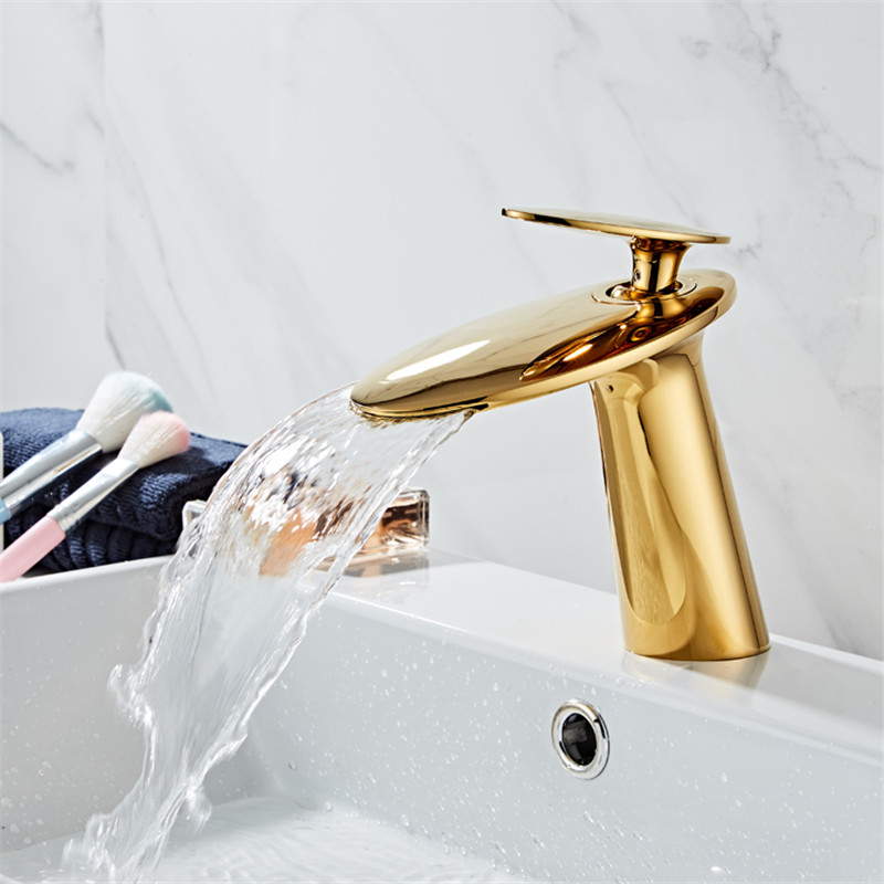 Basin Faucet Solid Brass Bathroom Faucet Cold And Hot Waterfall Mixer Sink Tap Single Handle Deck