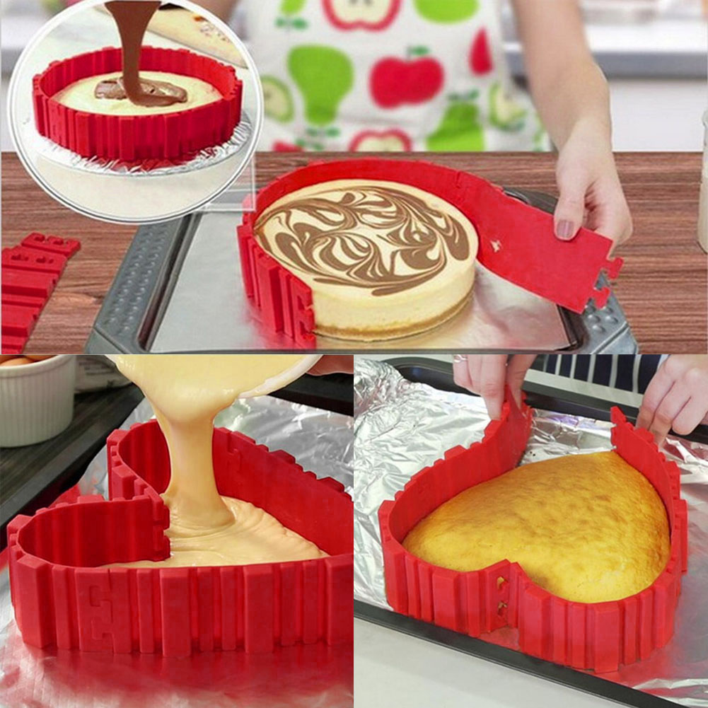 4pcs Silicone Cake Mold Heat Resistant Adjustable Silica Cake Chocolate Moulds Magic Bake Snakes DIY All Shape Baking Tools 3