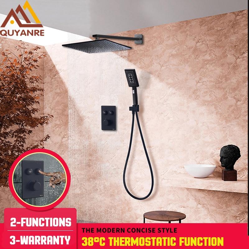 Bathroom Sinks,faucets & Accessories Bathroom Fixtures Quyanre Matte Black Chrome Thermostatic Shower Mixer Valve Shower Panel 2-way Buttons Control Switch Thermostatic Shower Faucet