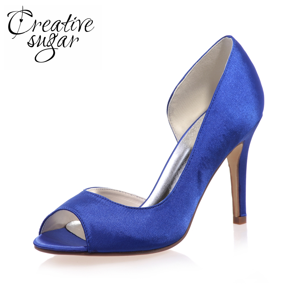 Creativesugar Concise design D'orsay satin dress shoes high heel woman wedding party evening pumps open toe heels purple blue top quality woman shoes fashioned in the concise design and unique pattern fringe decoration stiletto high heels light blue heel