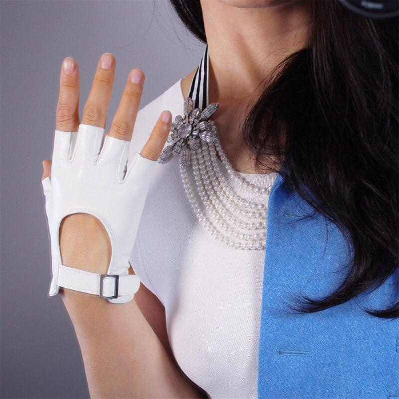 2019 Women Leather Half Finger Gloves White Silver Square Buckle Ultra-Thin Pure Sheepskin Fingerless Short Spring Summer TB88