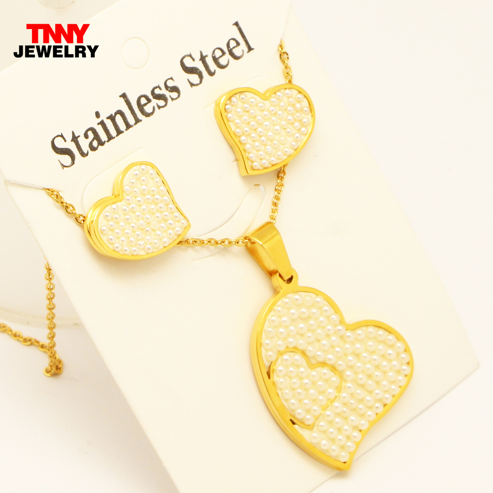 Stainless Steel Gold Sweet Love Double Heart Pendant Stud Earrings Necklace 45cm Chain Jewelry set