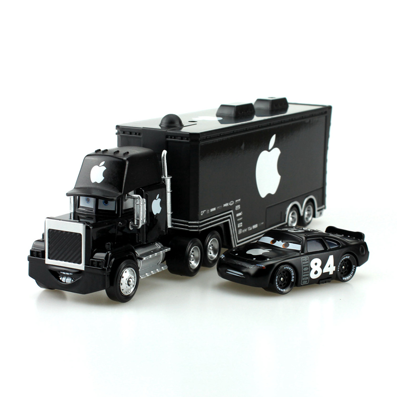Disney Pixar Cars Black Apple Mack Truck +Small Car 1:55 Metal Toy Alloy Car Diecasts & Toy Vehicles Car Model Toys image