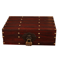 Antique Storage Wooden Box ID Box with Lock Ornaments Retro Wooden Jewelry Storage Box Cosmetic Boxes Household Decoration Gifts