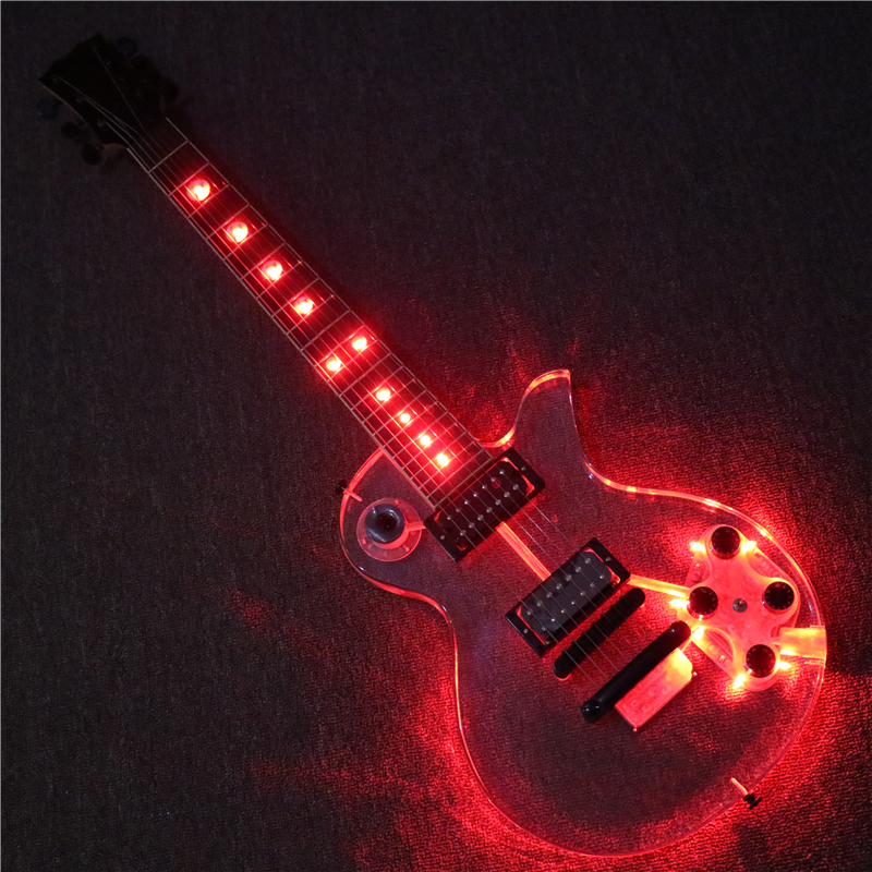 afanti music 7 strings acrylic body super electric guitar with red led lights pag 107s in. Black Bedroom Furniture Sets. Home Design Ideas