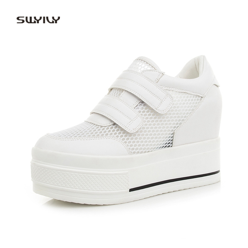 SWYIVY Sneakers Platform White Shoes Woman Summer Mesh Breathable Female Casual Shoes Wedge Lady Sneakers Hook Loop Comfortable swyivy women sports shoes anti slip thick sole running shoes 2018 summer mesh breathable lace up female sneakers comfortable