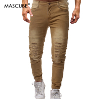 MASCUBE Streetwear 2019 Men Pants Punk Cotton Pencil Pants With Holes Black Hip Hop Teenager Trousers Casual Slim Zipper Pants