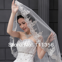 New 1 Layers Alencon Lace edge Headpiece of lace Bridal Long Veils Wedding Accessories Veils
