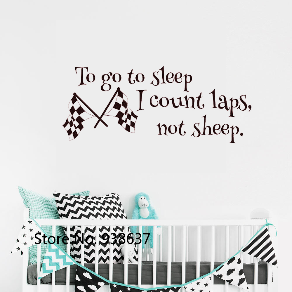 US $6.97 25% OFF Checkered Flags Wall Stickers Baby Boy Room Decor  Removable Quote Wall Decal Nursery To Go To Sleep I Count Laps Not Sheep  ZB614-in ...