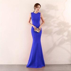 Image 5 - Its Yiiya Mermaid Evening dress Elegant Floor length Solid long Party Gown Zipper back Sleeveless O neck Sexy Prom dresses C096