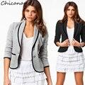 Женщины Короткие Пальто Куртки Офис Дамы Blazer Черный/Серый Большой Размер