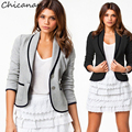 Women Short Coat Jackets Office Ladies Blazer Black/Grey Big Size