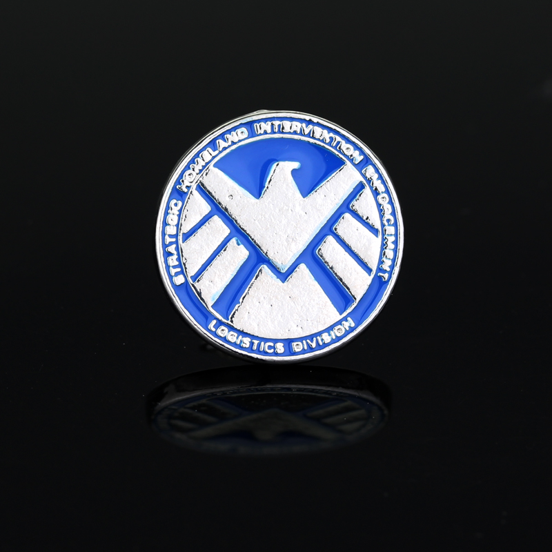 The Avengers Agents of Shield s.h.i.e.l.d. Sign Lape Metal Pin Badge Brooch Blue Enamel Round Brooches for Men Jewelry