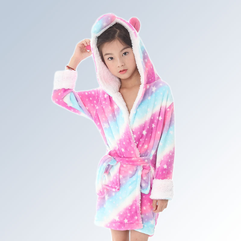 Home 13 Style Animal Cartoon Unicorn Robes For Kids Flannel Warm Hooded Bathrobe Robes Dressing Gown Nightwear Cosplay Costume