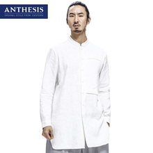 Anthesis eastern style shirt male long-sleeve stand collar shirt spring men's clothing linen shirt male
