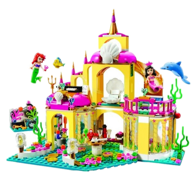10436 JG306 Ariel's Undersea Palace Building Bricks Blocks Toys Girl Game House Compatible with Legoe Blocks Princess Mermaid stzhou 10164 659pcs compatiable with legoe friends olivia s house building bricks blocks toys for children girl game castle gift