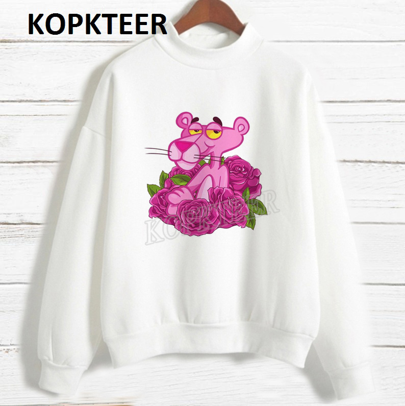 Women 2019 Fashion Hoodies Harajuku Hoodie Sudadera Mujer Rose And Pink Panther Graphic Shirt Sweatshirt Streetwear Sweat Femme