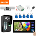 "Touch Key 7"" LCD  Video Door Phone Intercom Doorbell System Fingerprint remote control Exit Button Strike Lock bell Doorphone"