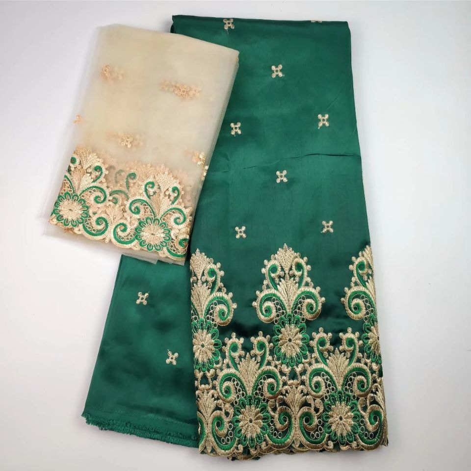 African George Fabric High Quality Indian GREEN Silk George Wrappers Hot Nigerian Lace Fabrics Set with