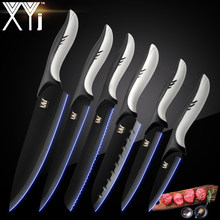 XYj Cooking Stainless Steel Kitchen Knives Cutlery Set Black Blade Paring Utility Santoku Chef Slicing Bread Kitchen Accessories(China)