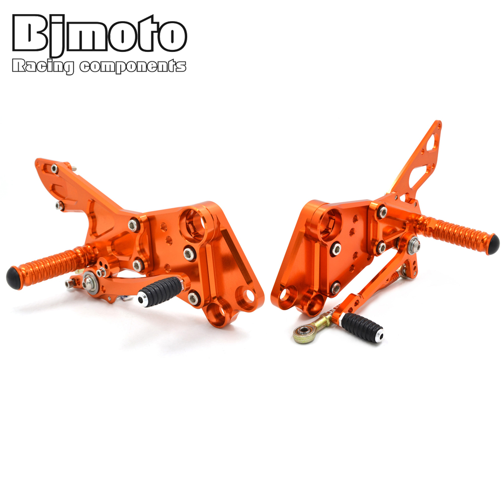 BJMOTO Motorcycle CNC Aluminium Adjustable Footrest Foot Rest Foot Pegs Set for KTM Duke 125 200