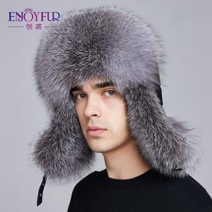 Image 2 - ENJOYFUR kış şapka kış kulaklığı erkekler gerçek fox kürk şapkalar erkekler rus ushanka kürk kulak koruyun yeterince sıcak rus kalpak bombacı şapka