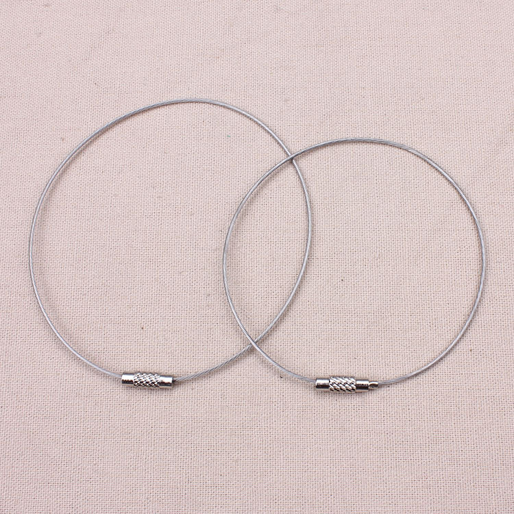 10pcs/lot Dia 6.4/7.2cm Rhodium Stainless steel wire key chains connectors DIY jewelry findings10pcs/lot Dia 6.4/7.2cm Rhodium Stainless steel wire key chains connectors DIY jewelry findings