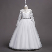 цена на 2019 Fashion 4-14Y Kids Girls Long Sleeve White Lace Party Ball Gown Prom Dresses Princess Wedding Children Ankle-Length Dress