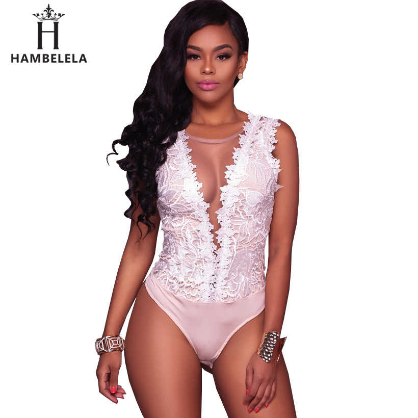 HAMBELELA mujeres elástico delgado sin mangas Backless mono Sexy bordado encaje Bodysuits negro blanco Bodycon Combinaison Femme