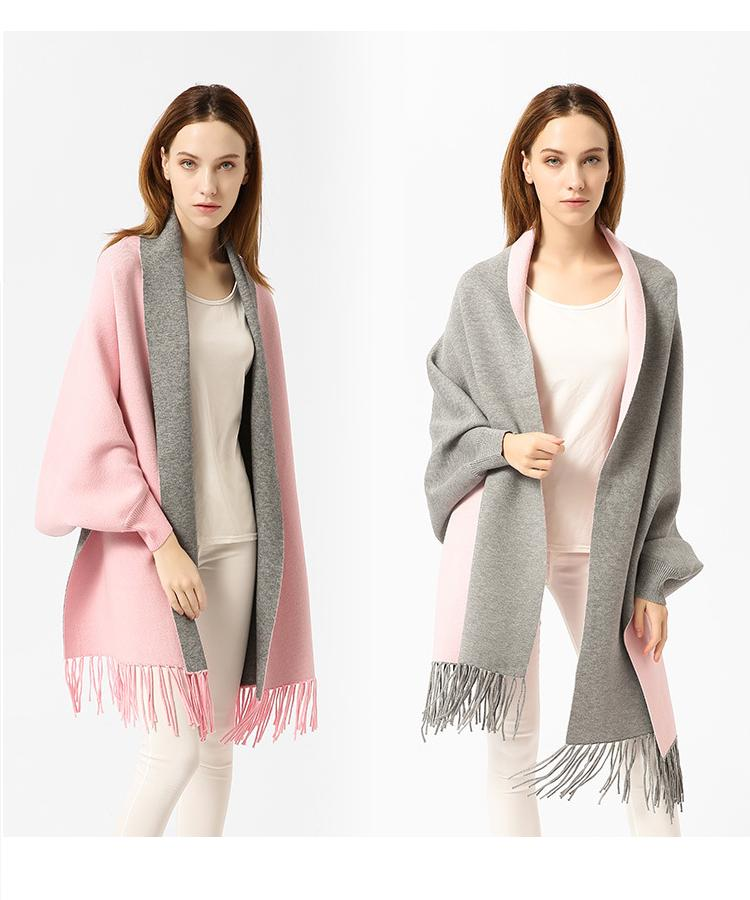 Tassel Cloak Sleeve Shawls Wraps Women Two Sided Cape Winter Fall Scarf Scarves Tassel Thick Warm Fashion Coat 195*65cm hot sale butterfly and flower pattern feather pendant loose cloak coat poncho cape for women