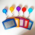 2016 New Candy Colors Cheap Bank Credit Card Holders PU Card Bus ID Holders Identity Badge with Retractable Reel wholesale