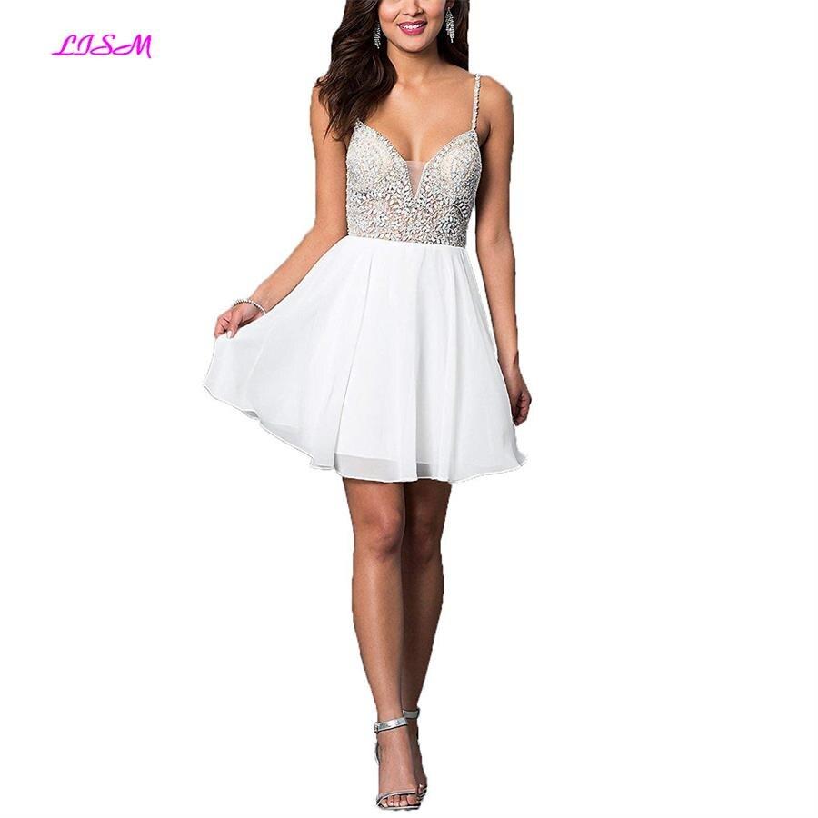 LISM Juniors Short Chiffon   Cocktail     Dresses   2019 Crystals Beaded Mini Graduation   Dress   Sweetheart Straps Vestidos De 15 Cortos