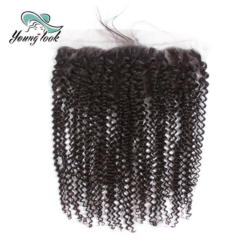 Young Look Kinky Curly Hair 13*4 Lace Frontal Hair Weaves Peruvian Remy Human Hair With Baby Hair Natural Color Hair Extensions