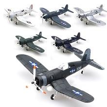 Juegos de herramientas de construcción de cazas de juguete en miniatura a escala 1/48, aviones de combate Flanker fundidos en piratas F4U de Color aleatorio