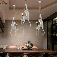Modern Handmade Resin Monkey Pendant Lights Loft Style Hemp Rope Pendant Lamp luminaires Bar Cafe Hanging Deco Lighting Fixtures