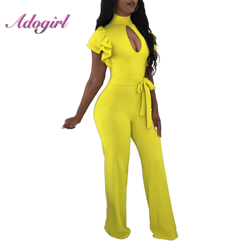 Adogirl 2018 Summer Jumpsuits Sexy Ruffle sleeve Jumpsuit Office Work Wide Leg Party High Waist Plus Size 3XL Long Straight