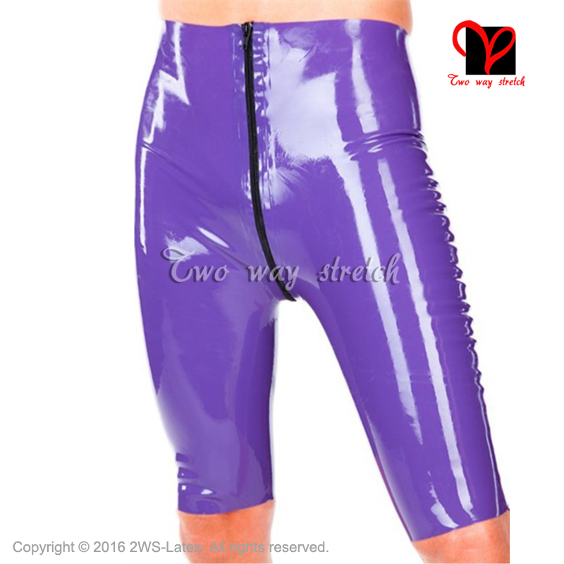 Sexy Latex Long Leg Boxer Shorts Front Full Zipper To Crotch Rubber Underwear Hot Pants Gummi Bermuda Bottoms Hot Pants Kz-131 Modern And Elegant In Fashion Novelty & Special Use Exotic Apparel