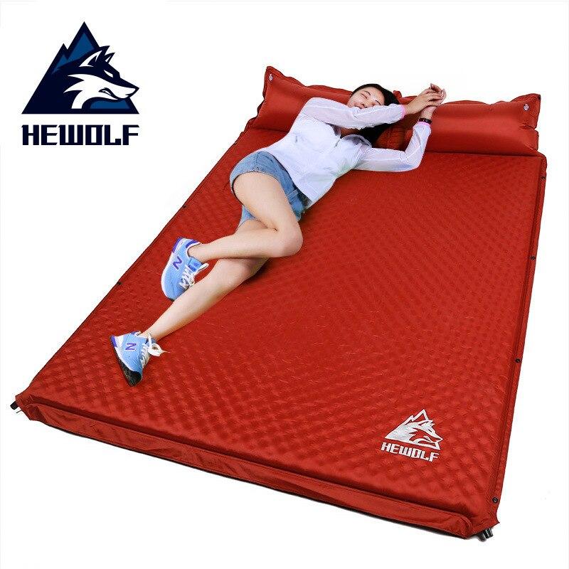 Hewolf colchão inflável automático, almofada de 5cm de espessura ao ar livre, barraca, camping, colchão duplo, cama 2 cores