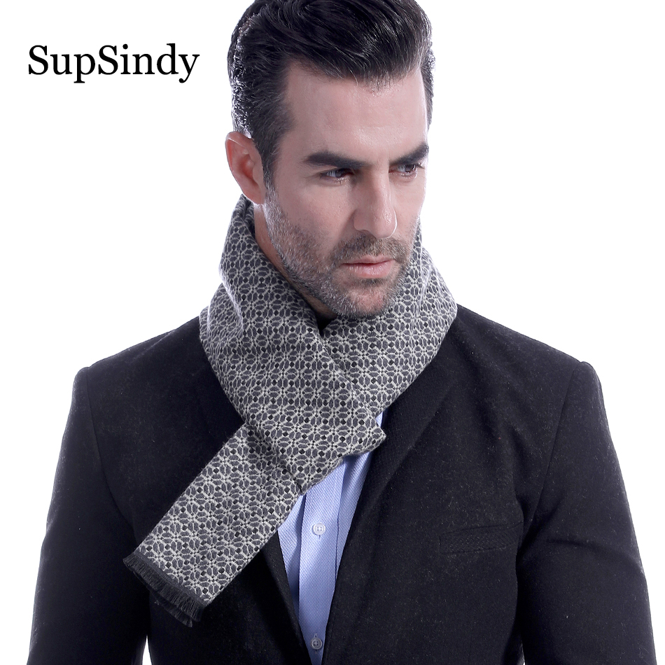 Supsindy Floral Scarves Luxury Shawl Imitation-Cashmere Business Warm Vintage Soft Men