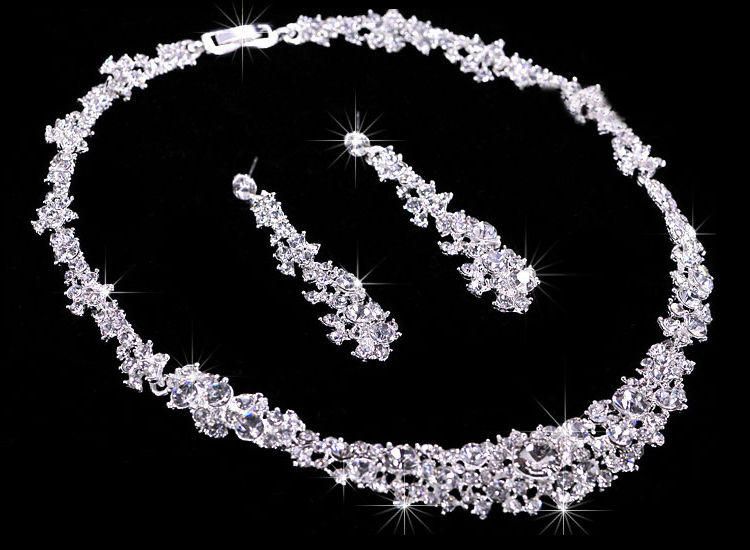 Silver Crystal Wedding Bridal Bridesmaid Jewelry Sets Alloy Necklace Earrings Crown Jewelrys For Women Hot Sale (1)