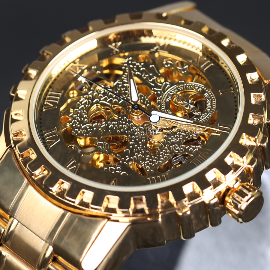 New Fashion Gold Skeleton Watches Stainless Steel Men Automatic self-wind Mechanical Wrist Watch Gift Box luxury Erkek Saat mechanical leather wrist watch gift new mens square skeleton self wind watches