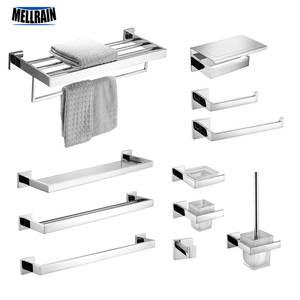 Hook Towel-Rack Set-Mirror Paper-Holder Bathroom-Accessories Toilet Polished Stainless-Steel