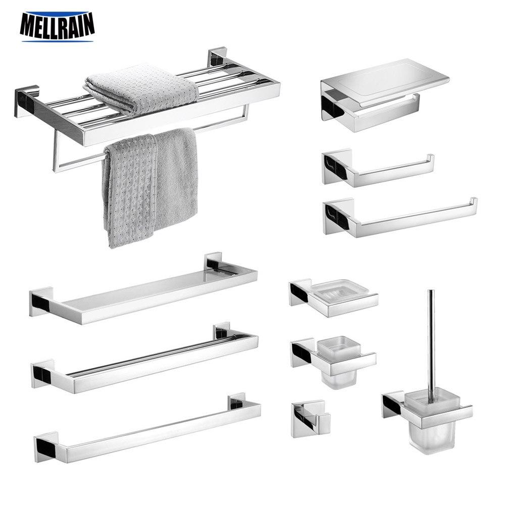 De acero inoxidable set de accesorios de baño espejo cromo pulido toalla Rack sostenedor de papel higiénico de barra de toalla gancho accesorios de baño
