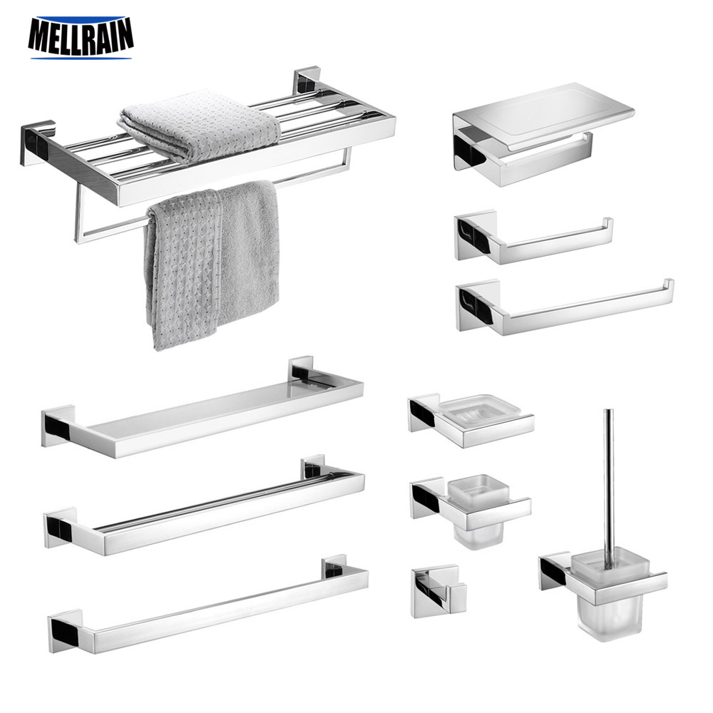 Stainless Steel Bathroom Hardware Set Mirror Chrome Polished Towel Rack Toilet Paper Holder Towel Bar Hook Bathroom Accessories