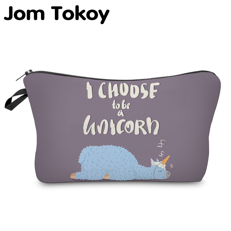 Jom Tokoy 2019 Cosmetic Organizer Bag Make Up Printing Llama Cosmetic Bag Fashion Women Brand Makeup Bag Hzb929